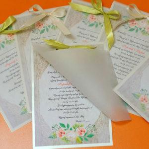Հարսանեկան հրավիրատոմս թափանցիկ թղթե դետալով